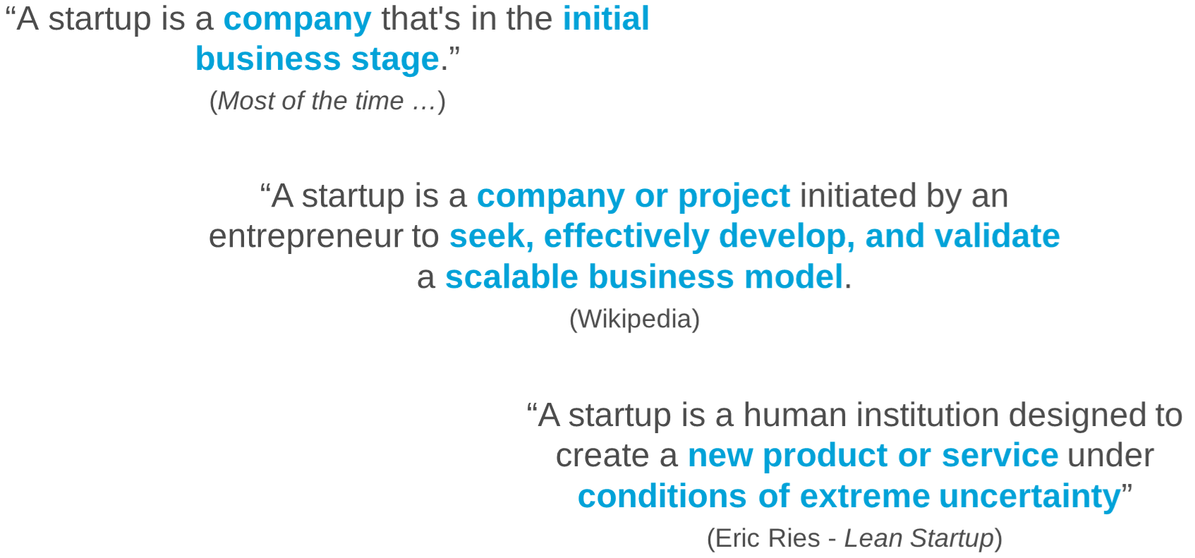 various definitions of a startup